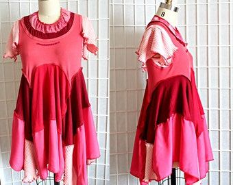 Upcycled Red Pink Tunic Top Artsy Flutter Sleeve Recycled Clothing Size Medium