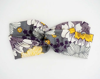 Purple Floral Turban Headband