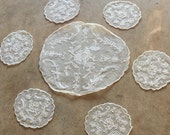 20's LACE DOILEY SET - Needle Run // Net // Ivory // Antique // Tea Setting // Set of 7