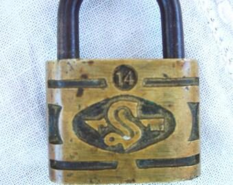 Vintage Padlock ~ Old Brass ~ Metal Slaymaker / RFD  ~ S initial ~ Embossed ~ NO Key ~ Supply ~ Very Cool Lock