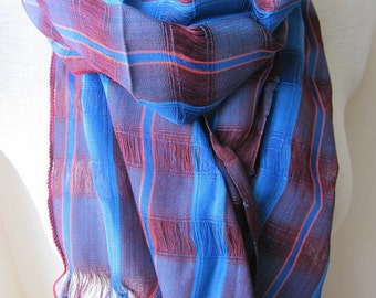 Crinkle stripe Men's Long scarf - burgundy grey gray stripe man fashioN scarves -woman-MAN SCARVES ,Turkey Scarf gifts - Black sea Karadeniz
