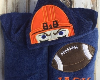Football hooded towel, kids hooded towel, embroidered hooded towel, custom hooded towel, charcater hooded towel