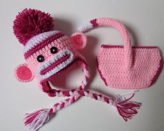 Newborn Crochet Pink Sock Monkey Hat and Diaper Cover Photo Prop Baby Boy Baby Girl