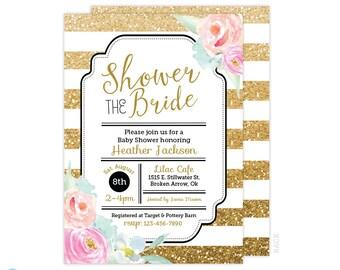 Gold Glitter Bridal Shower Invitation - Black & Gold Bridal Shower Invitation - Floral Bridal Shower invitation - Printable Bridal Shower