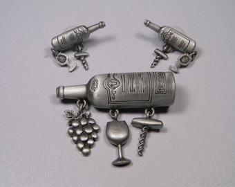 JJ Wine Bottle Jewelry Set, Pewter Tone, On Original Cards, 80s