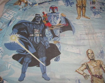 Vintage Star Wars Empire Strikes Back Twin Fitted Sheet/Material - Darth Vader, Boba Fett, Han, Chewie, Leia, R2D2, C3P0 - Retro Fabric