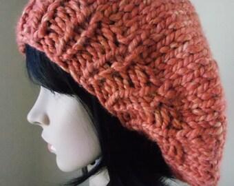 Orange Beret, hand knit from peachy rust wool blend yarn, orange tam o'shanter, orange and gold basque beret, pumpkin hat