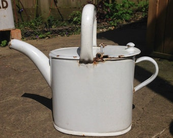 White enamel watering can, small vintage watering can, vintage wedding decor, garden decor