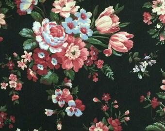 Cotton Fabric / Floral Cotton Fabric / Black Floral Fabric / 1980's Floral Fabric / Pink Floral Fabric / Floral Fabric / Peter Pan Fabric