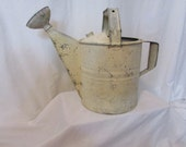 Vintage Galvanized Watering Can with Spout #8 Old Beige Paint Shabby Chic Rustic