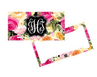 Personalized License Plate Frame - Flowers - Monogram Vanity License Plate Frame