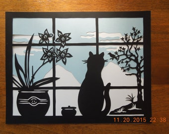 Kitty In The Window with Orchids Scherenschnitte Wall Art