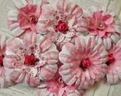 PAPER FLOWERS set/3 Pink Rose White Magenta Blush