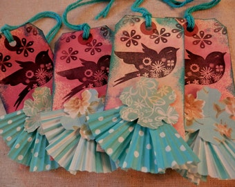 4 Large Tags - Handstamped and Dyed with a Tutu of Fluted Paper and Flower - Aqua Blue and Pink