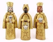 Vintage Wise Men Candle Holders, 1970s Plaster, Chalkware Wise Men Magi Christmas Decorations