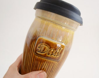 In Stock, Dad Christmas Gift, Ceramic Coffee Tavel Mug with Lid, IN STOCK, Brown Dad Coffee Mug, 24 oz To Go Mug, Gift for Dad