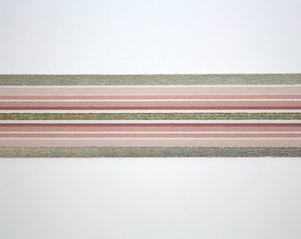 Full Vintage Wallpaper Border - TRIMZ - Pink and Metallic Gold Stripe