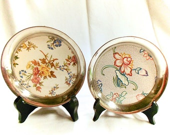 Lot of 2 French Antique Sarreguemines Faience Bottle Coasters (C119)