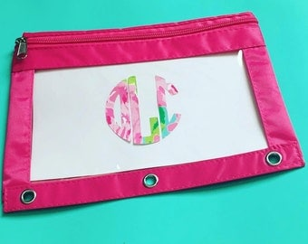 Monogram Pencil Pouch, Monogram Binder Pouch, Monogram Pencil Case, Pencil Bag, Lilly Pulitzer School Supplies