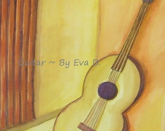 Guitar Painting Watercolor Art Yellow Monochromatic Gift For Music Lover Guitars Paintings On Paper