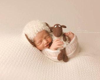 Sweet Chocolate Lamb  Bonnet  & Loopy Lamb