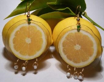 Lemon Earrings-Lemon Slice-Yellow Earrings-Carmen Miranda-Fruit Earrings-Lightweight-Laminated Earrings-Dangle Earrings-Culinary-Fun
