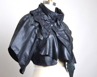 End Of Summer SALE OOAK Leather Cape - Leather Cape Poncho - Leather Caplet - Leather Cape - Goth - Bolero Leather Jacket - Steampunk