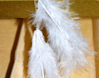 White Feather Necklace - Gold Chain - Bohemian Y Necklace