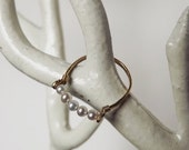 ON SALE Hammered Gold Filled Freshwater Pearl Gemstack Ring - Pearl Ring - Stacking Rings