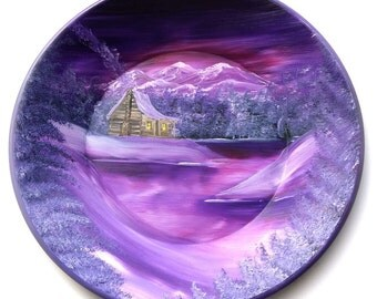 Hand Painted 11 Inch Gold Pans Mountain Mauve Winter Cabin Northern Lights