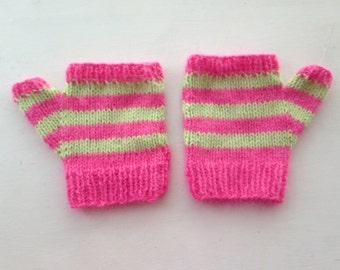 Embrace Your Softer Side - Pink and Green Striped LARGE Unisex Alpaca Wool Soft Winter Mitts