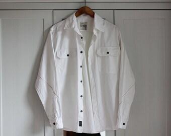 Vintage White Shirt Big Star Long Sleeve Men Women Unisex