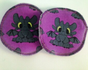 Purple Toothless nursing pads, breast pads, washable, reusable, breastfeeding pads, crunchy, cloth nursing pads, HTTYD, night fury