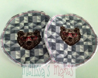 Geo Bears nursing pads, boob pads, breast pads, washable, reusable, breastfeeding pads, crunchy, cloth nursing pads, bear, nerdy bear, rawr