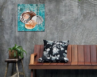 Beach Decor 'By the Seaside' by Megan Duncanson - Coastal Bathroom Art Seashell Painting on Metal or Acrylic