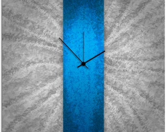 Modern Wall Clock Decor - 'Blue Stripe Clock' 22x22 in. - Contemporary Blue Wall Clock - Large Metal Clock