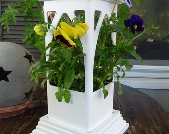 Planter Vinyl white,PVC planter,candleholder, Gothic style,flat base,EZ plant,ez clean, everlasting-Made in USA indoor or outdoor use.