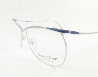 Womens Silver Eyeglasses, Industrial Metal Frames, Funky Silver Blue Frame, Metal Glasses, Light Weight Frames, 1970's Eyeglasses
