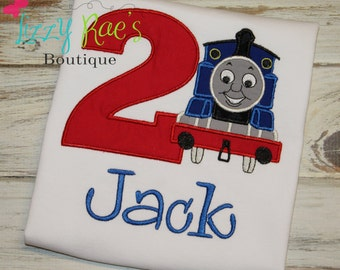 Thomas applique shirt- Birthday applique shirt- Train applique shirt- boys birthday shirt- applique shirt for boys- Train birthday shirt