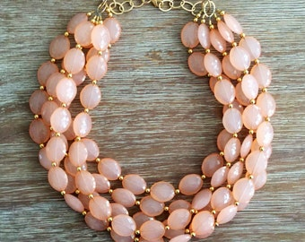 Sparkling Peach Crystal with Gold Beads