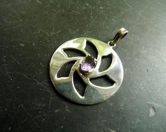 Pendant, sterling silver, Amethyst, crop circle, purple, amulet, symbol