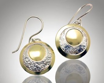 30% off Sterling Silver 18 karat gold bimetal earrings with reticulated accents - ready to ship