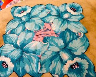 Vintage Blue Daffodil Cotton Handkerchief or Hanky