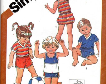 1980s Toddler Girls & Boys' Pull-on Romper, Shorts, Jumpsuit and Top Pattern with Transfer- Size 3, 3T - Simplicity 5953 uncut