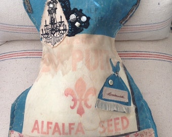 corset laundry bag,  vintage corset bags, vintage seed sacks, shabby chic laundry bags