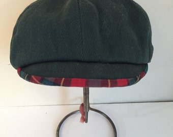 Vintage  Children's Green Cap with Plaid Brim Scottie Topper