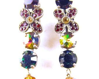 Rhinestone Earrings Flower Power Motif Watermelon Rivoli Colorful Glass Drop Dangles For Pierced Ears