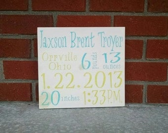 Personalized Birth Announcement Sign Hand Painted Aqua and Green