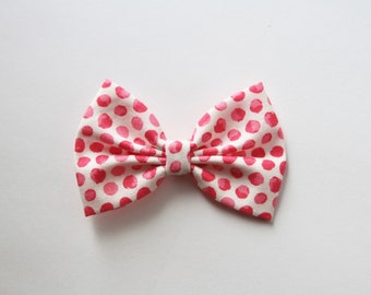SALE - SMALL Betty Hair Bow - Pink and White Polkadot Hair Bow and Clip