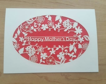 Happy Mother's Day with a ring of Flowers, laser cut greeting card